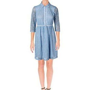 NY Collection Chambray Lace Shirt Dress - XL - New